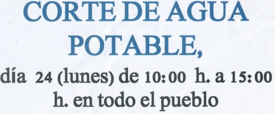 Corte en el suministro de agua potable 24 enero