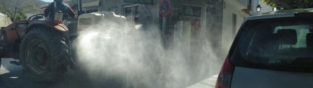 Nueva desinfección de las calles de Huétor Santillán