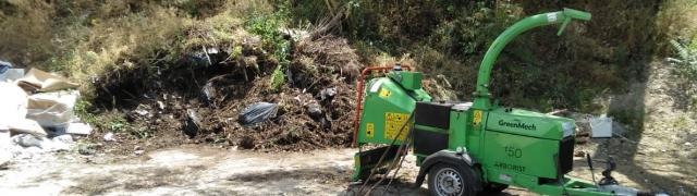 El punto de recogida de restos de jardinería en funcionamiento